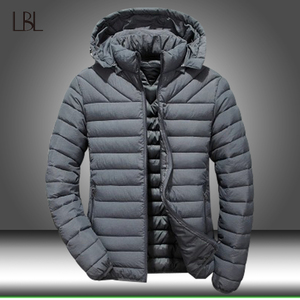 Image 1 - Winter Jacket Men Hooded Thick Warm Duck Down Parka Coat Mens Casual Slim Jacket Male Overcoat 2020 New Fashion Parkas Plus 5XL