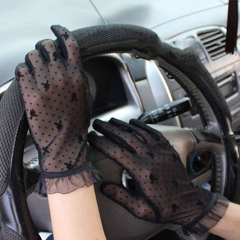 Summer Women Thin Section Black Sexy Lace Sunscreen Anti-UV Mittens Cute Dot Slip Mesh Breathable Cycling Driving Gloves - discount item  50% OFF Gloves & Mittens