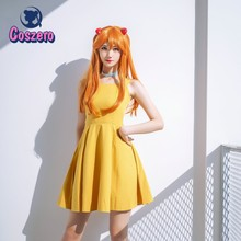 Anime EVA Asuka Langley Soryu Cosplay Costumes Yellow Sexy Shoulder-Straps Dress Wig Headwear Halloween Party Outfit for Women
