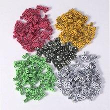 100 pçs/lote preto/amarelo/branco/verde/vermelho ponto quadrado dados jogo de puzzle enviar crianças 6 lados dados diy jogo acessório 8mm