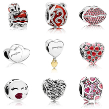 Valentines Day Colletion Wholesale 100% 925 Sterling Love Heart charms Fit Pandora Bracelet Beads For Jewerly Making Gift