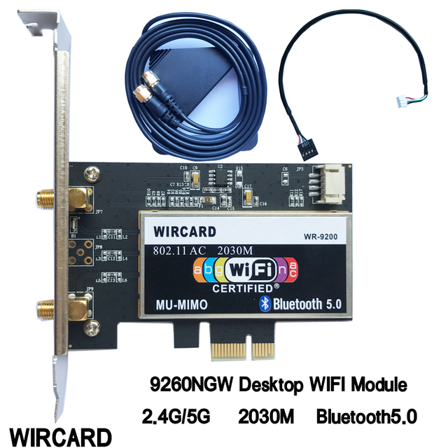 WIRCARD Wireless-AC 9260 AC for Intel 9260ac 9260NGW 802.11ac 2030Mbps PCI-e PCIE 1X WiFi Adapter Bluetooth 5.0  Network Card