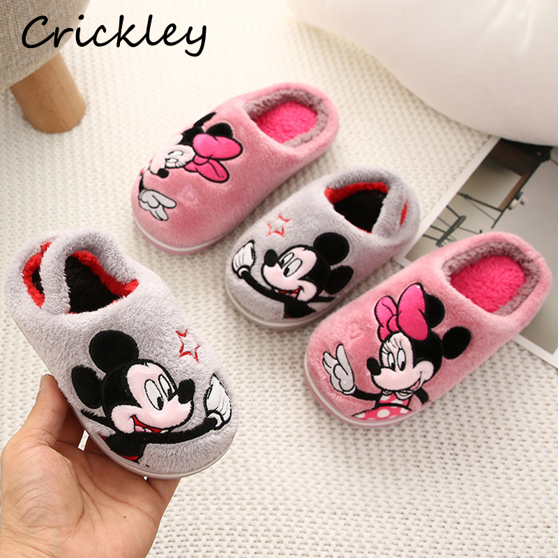 2019 Winter Coral Velvet Cartoon Mickey Minnie Pattern Indoor Shoes For Girls Boys Home Floor Warm Non Slip Children Slippers