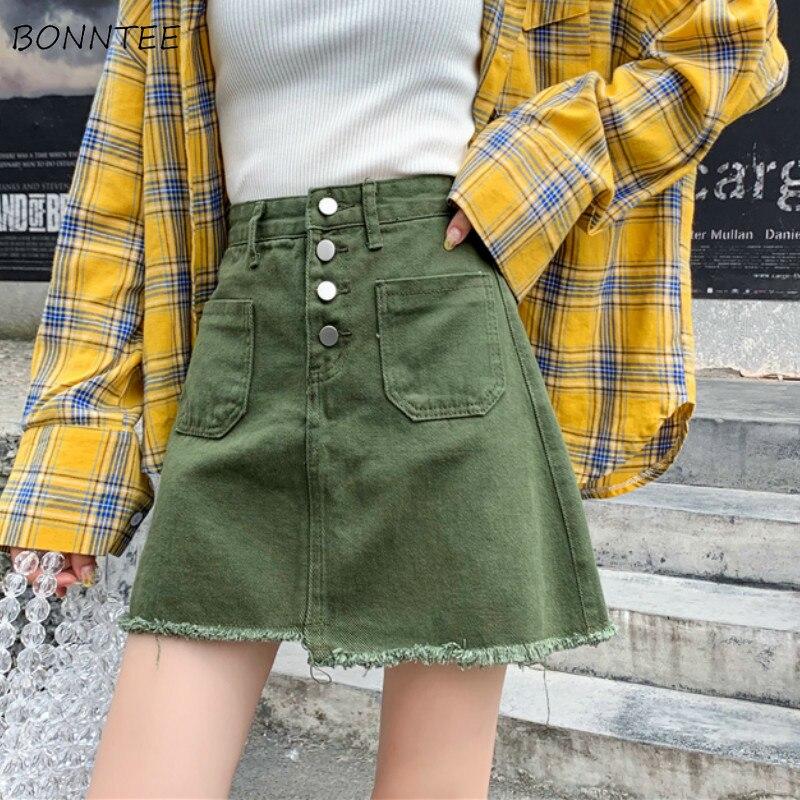 Skirts Womens Denim Irregular High Waist Pockets Casual Women Harajuku Solid Mini Skirt Streetwear Trendy Female Basic Simple