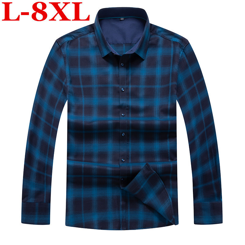 Big Size  8XL 7XL  6XL  Autumn New Plaid Shirt Men Long Sleeve Slim Fit Imported Clothing Pure Cotton High Quality Plus Size