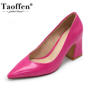 Taoffen Shoes Women Pumps Footwear Office Pointed-Toe High-Heels Party Solid-Color Size-32-43