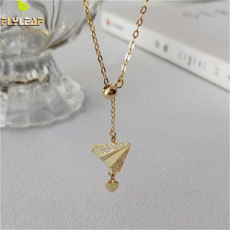Flyleaf Paper Airplane Heart 18k Gold Necklaces & Pendants Real 925 Sterling Silver Necklace For Women Chain Fine Jewelry Gift image