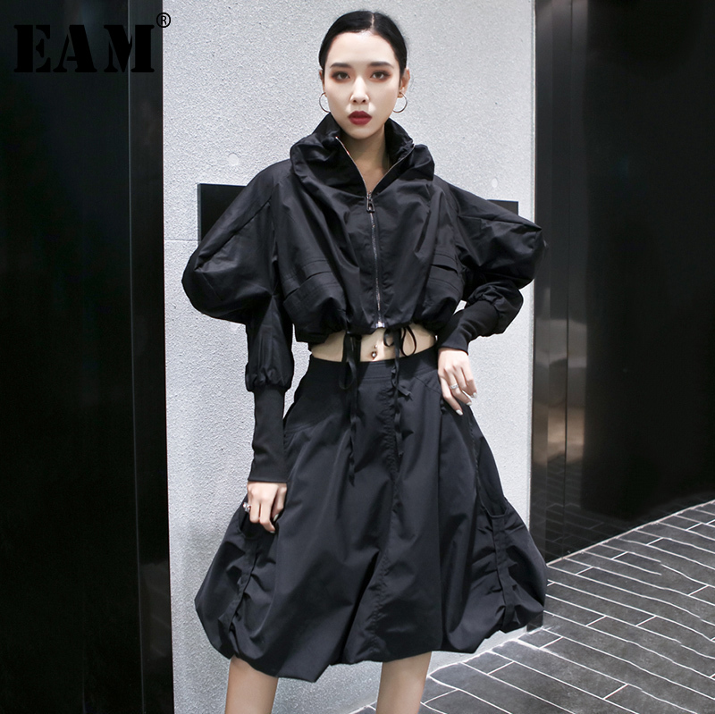 [EAM]  Half-body Skirt Rufffles Drawstring Two Pieces Suit New Long Sleeve Black Loose Women Fashion Spring Autumn 2020 1S119
