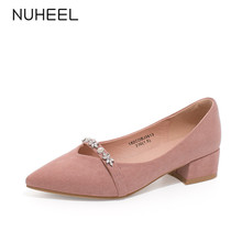NUHEEL women's shoes new spring elegant style metal flower decoration pumps pointed toe thick heel shoes women туфли женские