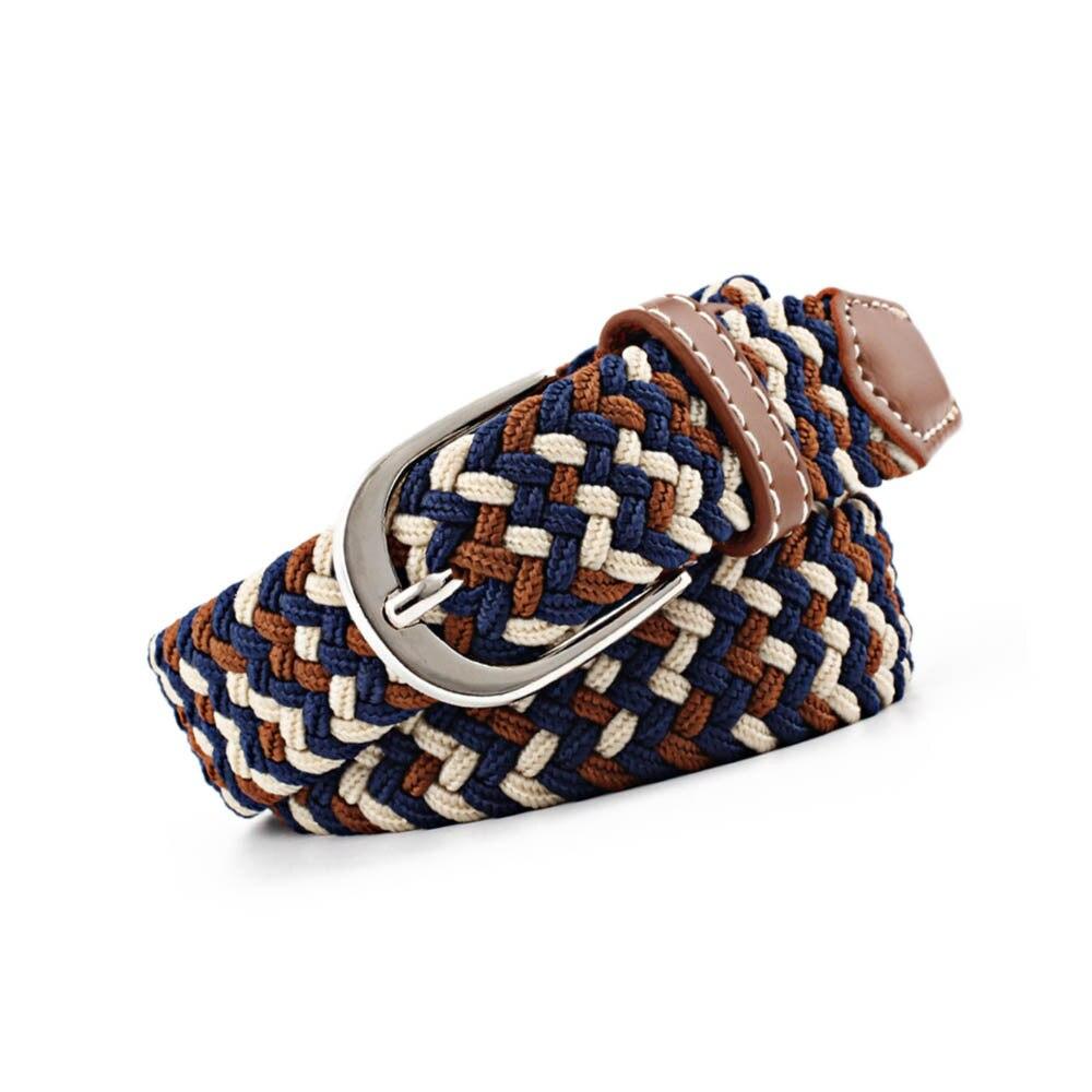 Women Waist Belt Elastic Waistband Canvas Buckle Braided Woven Waist Straps Jeans Accessories Fashion Buckle Belt Adjustable