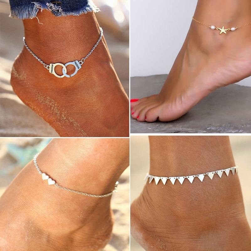 Ankle Bracelet Stainless Steel Jewelry Woman Starfish Shape Star Pearl Beaded Ankle Bracelets for Women Foot Chain Body Jewelry