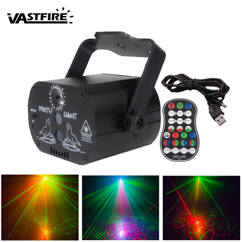 Mini USB Charge DJ Disco Light Strobe Party Laser Stage Lighting Effect Voice Control Laser Projector Light Dance Floor Bar Car