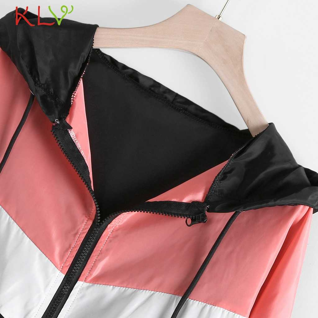 Kobiety kurtka wiatrówka kobiet Multicolor Patchwork z kapturem kurtki typu basic color block płaszcze dla kobiet cienkie kombinezony sportowe 19Aug