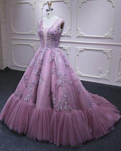 Image 3 - Vestidos de Fiesta formales largos de princesa rosa con Apliques de encaje de tul con cuello en V vestido de noche elegante vestido de fiesta de compromiso