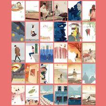 30 hojas Happyness pinturas Retro Vintage postal navidad regalo tarjeta deseo póster tarjetas