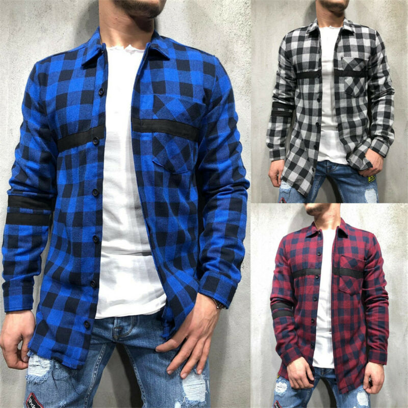 Bottom Edge Plaid Long Sleeve Shirt 2020 Spring Men Brushed Cotton Flannel Check Shirt Long Sleeve Stylish Top Blouse Lumberjack