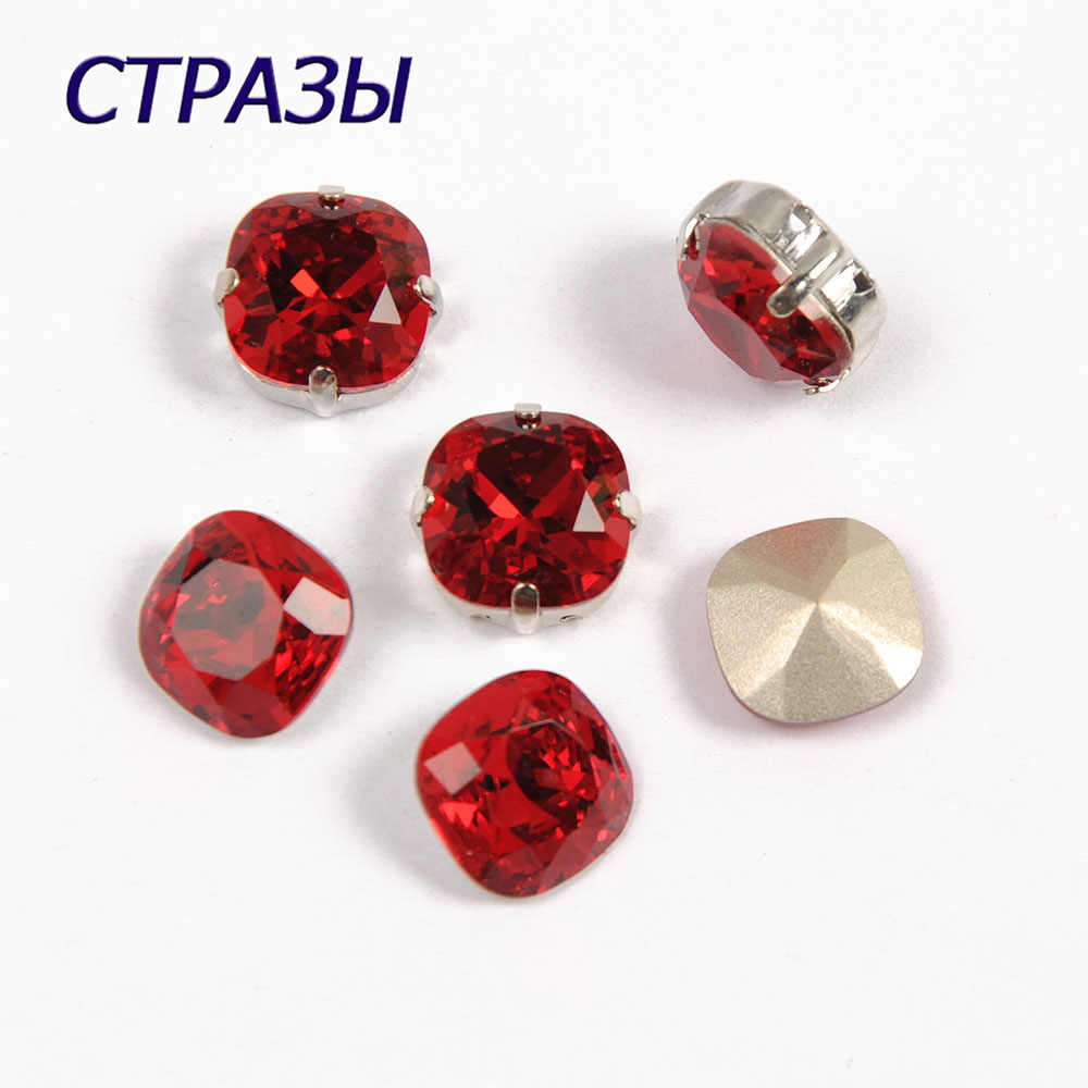 CTPA3bI 4470 Siam Color Glass Crystal Fancy Stones For Jewelry Making Garments Strass Crafts  Cushion Cut Shape Accessories