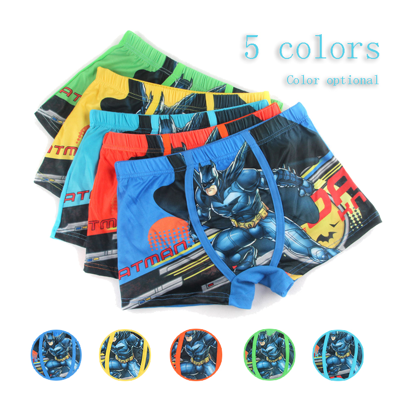 3 To12 Years Kid Boys Silk Underwear Action Figure Batman Male Cartoon Printed Child Underwear Boys Comics Boxers Briefs Panties
