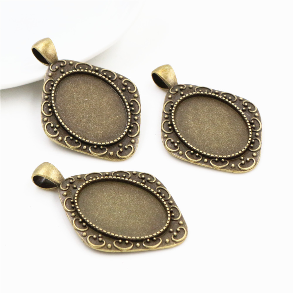4pcs 18x25mm Inner Size Antique Bronze Fashion Style  Cameo Cabochon Base Setting Charms Pendant Necklace Findings  (C3-48)
