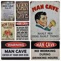 Мужской предупреждающий знак в пещере  винтажные классические Потертые Металлические пластины  картины  железные бляшки  мастерская  общес...