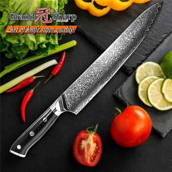 Hot 9.5'' Damascus Chef Knife 67 Layers VG10 Steel Japanese Damascus Kitchen Knife Japanese High Carbon Slicing Cooking Tools