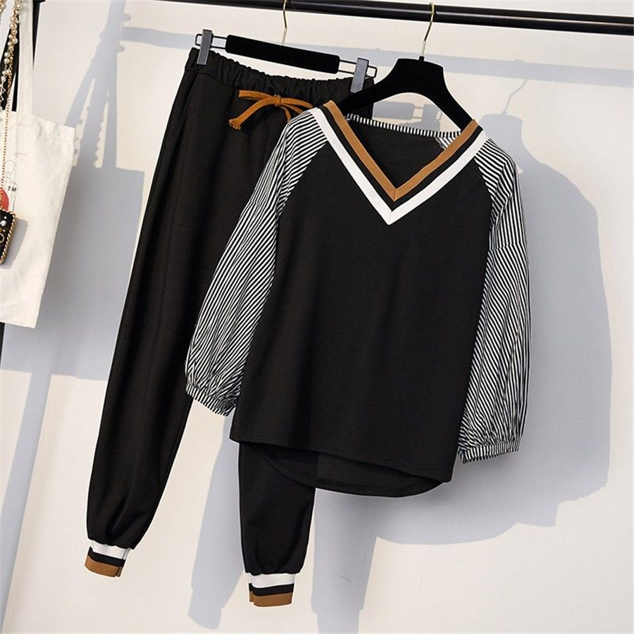 2019 Women Two Piece Set Spring Long Sleeve  T Shirt+ Long Pants Casual Women Tracksuit Set 5XL