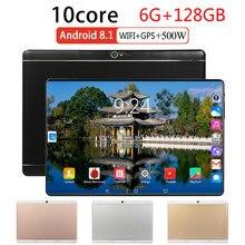 2021 plus récent tablette 10 pouces Android 8.0 Octa Core 6GB + 128GB ROM tablettes WiFi alphablet double SIM 4G FDD Lte WiFi Bluetooth GPS
