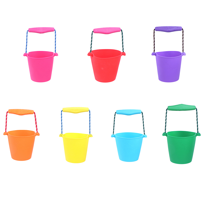 Beach Bucket Silicone Folding Hand-held Barrel Toy Baby Kids Shower Bath Toy Sand Dabbling Pour Water Toy