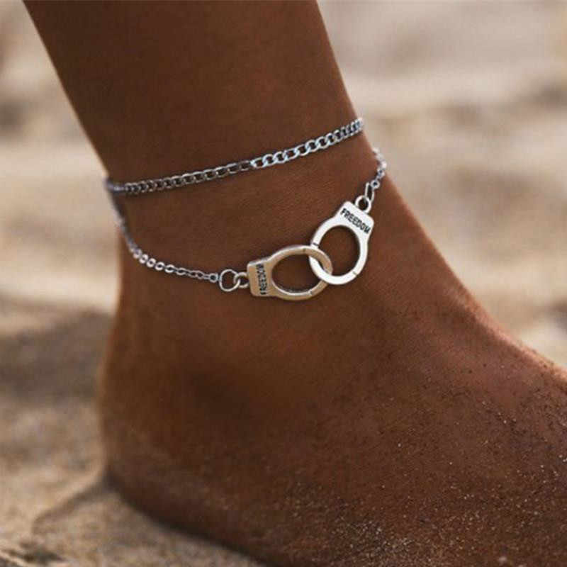 Hot Sale Vintage Silver Color Handcuffs Anklets for Women Bohemian Freedom Ankle Bracelet on the Leg Barefoot Party Jewelry
