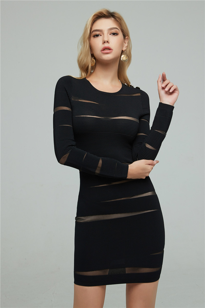 Haute qualité noir violet à manches longues solide moulante hiver femmes Bandage robe robe de soirée
