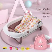 Baby Bath Tub with Bath Net Bath Mat Newborn Shower Essential Home Baby Bathtub Folding Portable 0-6Y Infant Bath Tubs Kids Tub