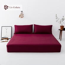 Liv-Esthete 100% Silk Wine Red Fitted Sheet Silky Healthy Mattress Cover Bed Sheets Pillowcase For Women Men Kids