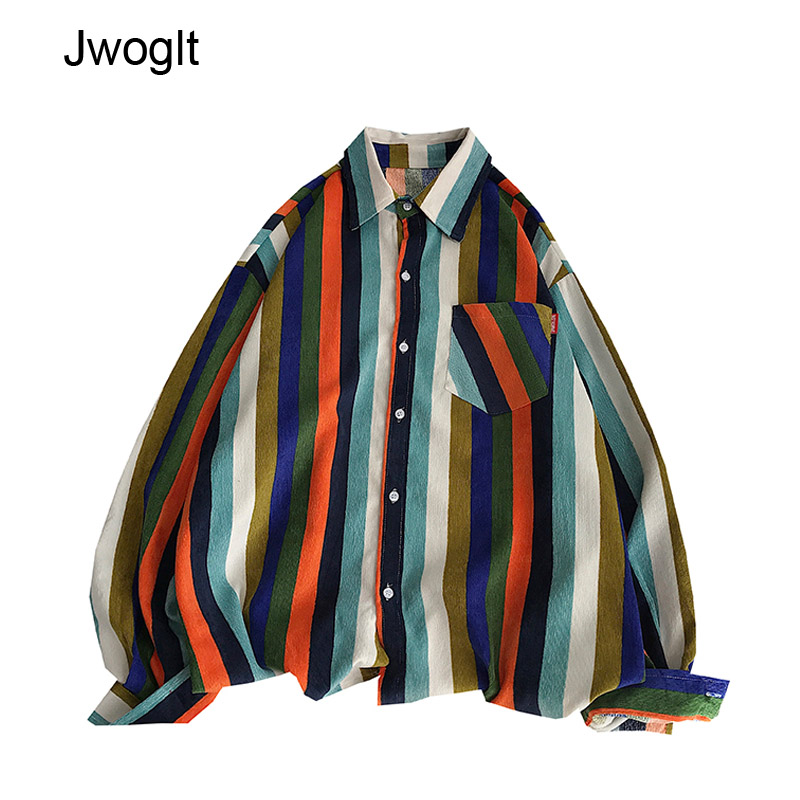 Autumn Winter High Quality Korean Fashion Corduroy Mens Shirts Casual Loose Rainbow Striped Button Up Long Sleeve Shirt