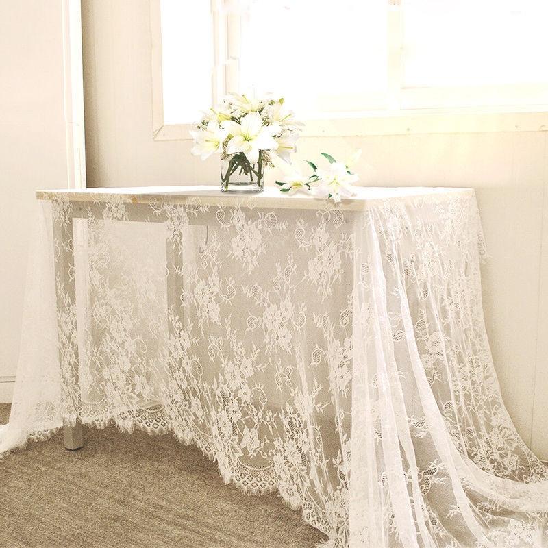 300*150 см белая кружевная ткань для покрытие стола кружево декоративные скатерти обеденный стол ткань текстиль Свадебная вечеринка домашний ...