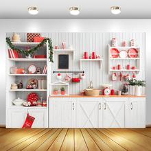 Рождественская кухня фон Рождество фон для фотографии белый деревянный шкаф акциях, готовить фон для съемки
