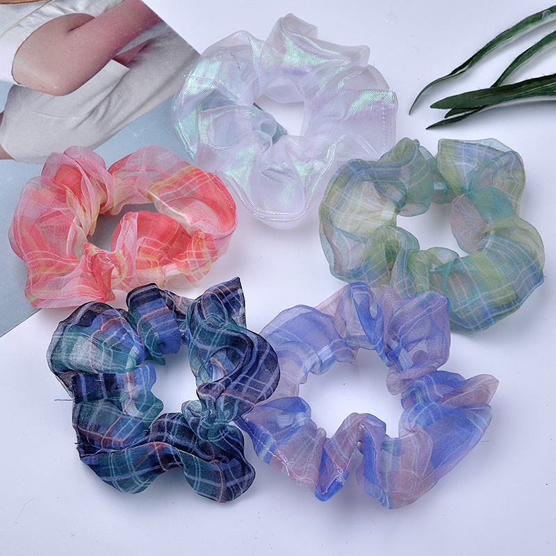 Fashion Organza Plaid Hair Scrunchies For Girls Women Hair Tie Elastic Hair Bands Hair Scrunchy For Women Hair Accessory