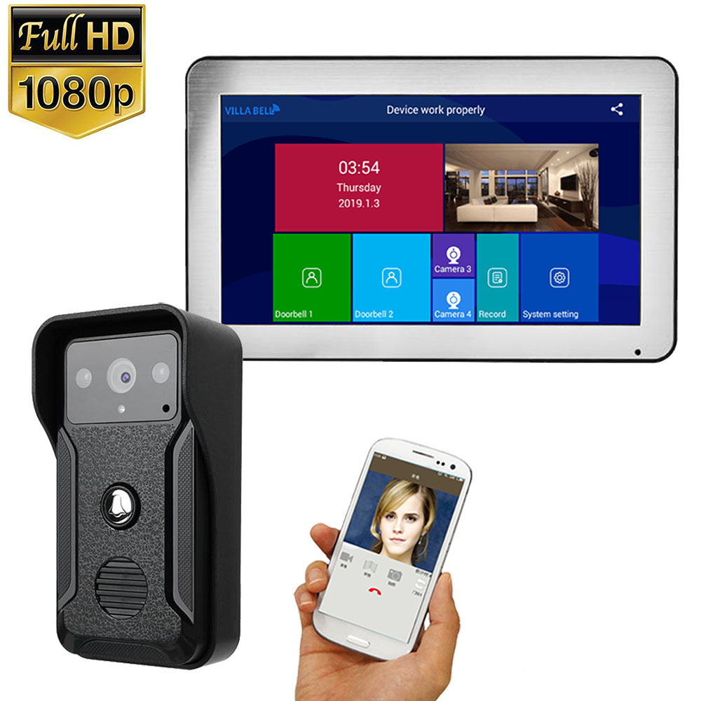 10 Inch Record Wifi Wireless Video Door Phone Doorbell Intercom Entry System With HD 1080P Wired Camera Support Remote APP