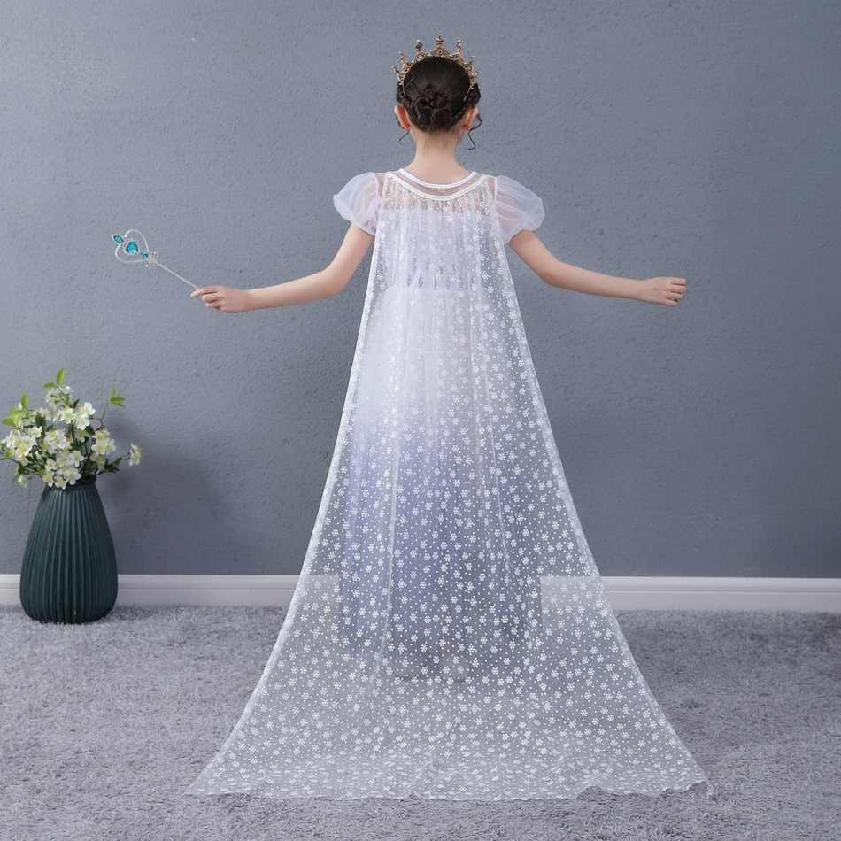 בנות לבן אלזה שמלה עם גלימה להסרה קיץ ילדי סינטטי ריינסטון שמלות מפלגה נסיכת ילדה ליל כל הקדושים בגדים