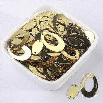 500 unids/bolsa de oro de moda doble forma ovalada Lentejuelas grandes pendientes artesanales Paillettes sueltos DIY boda costura Lentejuelas Accesorios