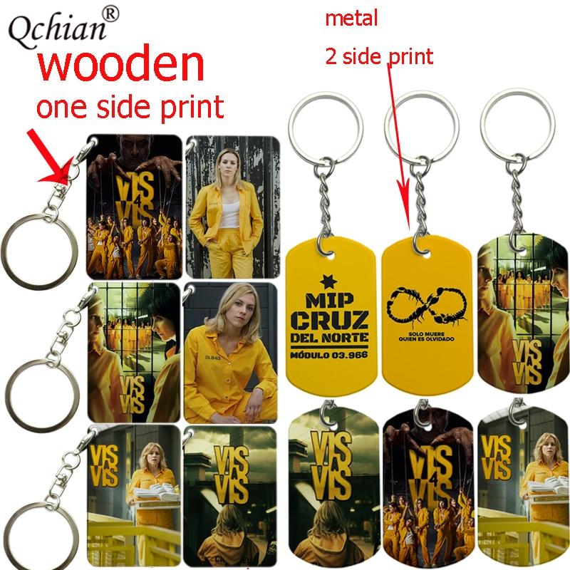 Spain TV Vis A Vis Wooden Metal Key Chain Keychains Macs Rizos Print Key Ring Women Bag Charm Pendant Gift Christmas Xmas Gift