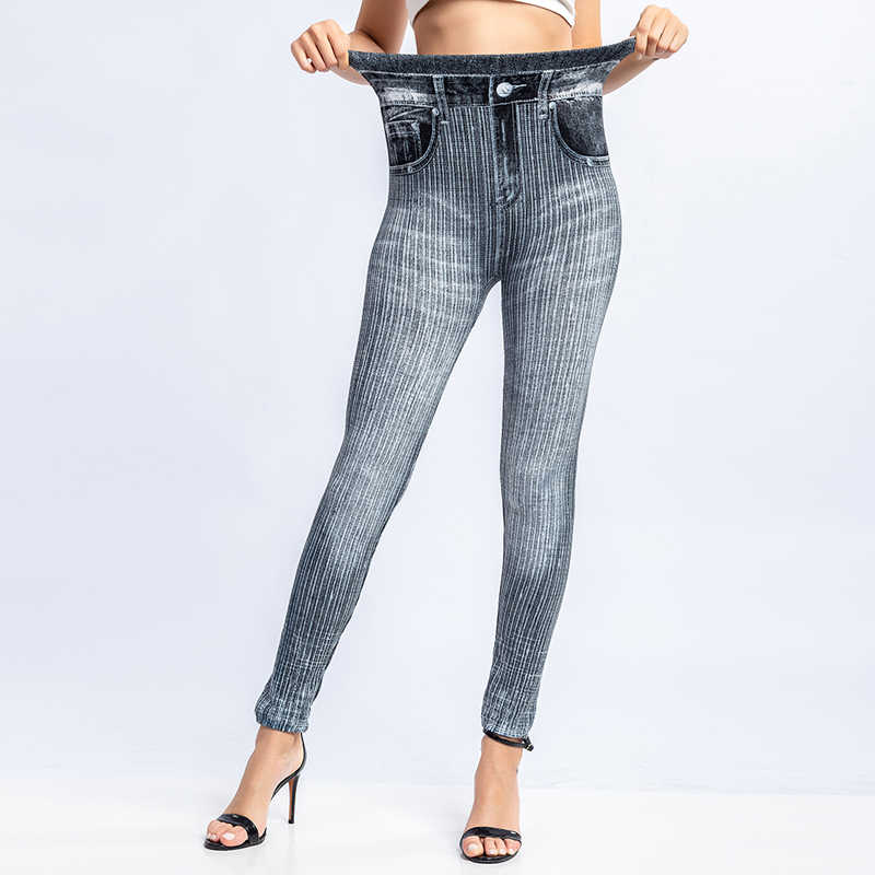 2019 mode Druck Leggings Faux Denim Jeans Slim Fitness Elastische Nahtlose Leggings Frauen Bottom Leggigns Casual Bleistift Hosen