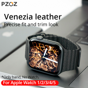 Image 1 - PZOZ Leather strap Replacement Sport Band For Apple Watch Series 1 2 3 4 5 42mm 44mm Wrist Bracelet Leather Strap 38mm 40mm