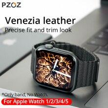 PZOZ wymienny skórzany pasek opaska sportowa do zegarka Apple Series 1 2 3 4 5 42mm 44mm bransoletka na rękę skórzany pasek 38mm 40mm