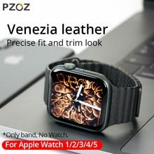 Pzoz pulseira de couro para apple watch, banda esportiva para substituição, para apple watch series 1 2 3 4 5 42mm 44mm pulseira de couro 38mm 40mm