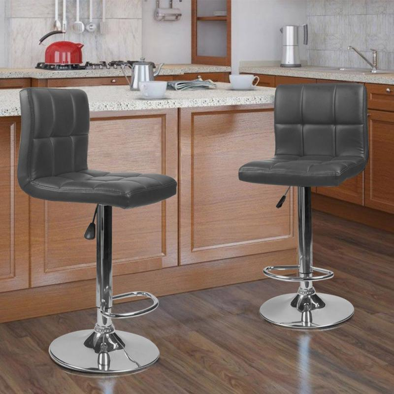 2Pcs/Set Bar Chair Leisure Leather Swivel Bar Stools Chairs Height Adjustable Pneumatic Pub Chair Home Office Kitchen Home HWC