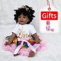 Baby Pop Speelgoed Meisje 22 Inch Reborn Vinyl Babies Pop Zwart Voor Meisjes Reborn Poppen Kinderen Speelgoed Speciale Aanbieding Speelgoed zachte Siliconen