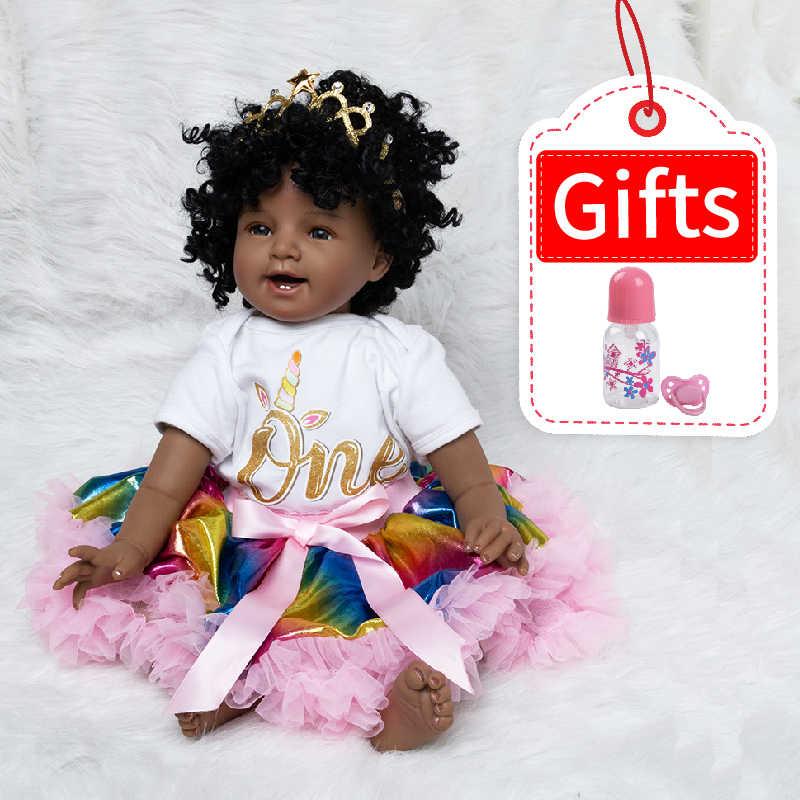 Bebê boneca de brinquedo menina 22 polegadas reborn vinil bebês boneca preto para meninas bonecas renascer crianças brinquedos oferta especial brinquedo macio silicone