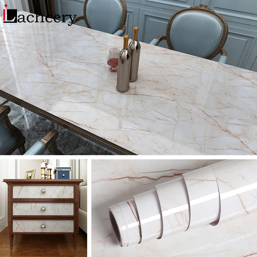Marble Waterproof Dining Table Wall Stickers Vinyl Self Adhesive Wallpaper Decorative File Cabinets Stove Top DIY Contact Paper