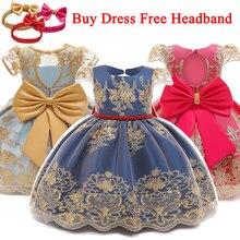 Детское платье принцессы, элегантное платье для крещения, первый и второй день рождения, для маленьких девочек