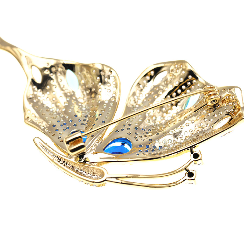 Vitage Style AAA Zicon Brooch Pin for Women's Copper Inlaid Gold Pins Clothes Scarf Buckle Garment Accessories Fine Jewelry Gift-5